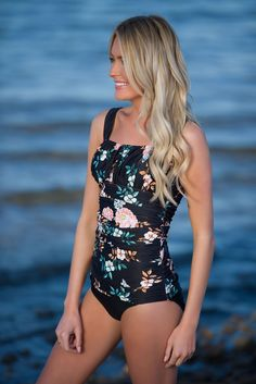 Ruched Square Tankini - Black Retro Floral