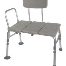 """This plastic transfer bench can be accommodated in any bathroom because of its reversible bench and extension legs with large suction cups to give more safety and versatility. It has blow-molded plastic backrest and bench which is durable and high quality. Its adjustable height increments with unique """"Dual Column"""" extension legs. Its tool free assembly needs connecting legs, arms and back. We offer best prices to our customers."""
