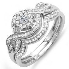 0.40 Carat (ctw) 14k White Gold Round Diamond Ladies Bridal Ring Engagement Matching Band Set $339.00 (save $847.50) + Free Shipping