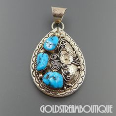 NATIVE AMERICAN FRED JAMES NAVAJO PREWITT, NM STERLING SILVER TURQUOISE NUGGETS FLORAL PENDANT