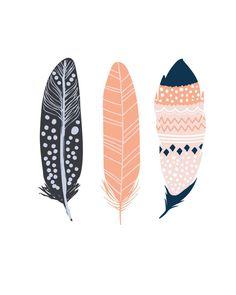 Decor Art Feather Print Printable Art Feather Art Three by PaperStormPrints Feather Wall Decor, Feather Art, Coral Home Decor, Home Decor Wall Art, Coral Wallpaper, Kunst Poster, Nursery Art, Mint Nursery, Tribal Nursery