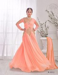 Ftrendy Light Orange Embriodered Korean Lykraw Designer semi stitched Anarkali Gown