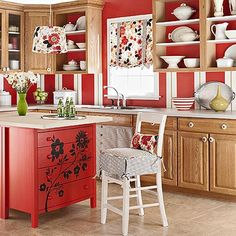 Two wooden dressers placed back to back and topped with a counter material makes a great center kitchen island, with tons of storage built right in the drawers.