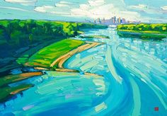 Giclee on canvas - Morning Missouri - - Modern Landscape Landscaping Las Vegas, Modern Landscaping, Missouri River, City Painting, Landscaping Software, Contemporary Landscape, Large Prints, Landscape Paintings, Muse