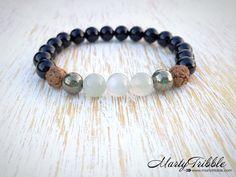 Moonstone Goddess Crystal Rock Bracelet, Bali Rudraksha Wrist Mala Beads, 2nd 7th Chakra, Yoga Gemstone Cuff, Healing Zen Buddhist Jewelry by MartyTribble on Etsy
