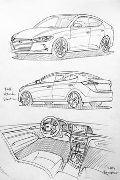 Car drawing 160114. 2016 Hyundai Elantra. Prisma on paper. Kim.J.H