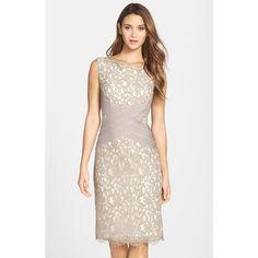Tadashi Shoji Crisscross Waist Lace Sheath Dress ($318) ❤ liked on Polyvore featuring dresses, petite, pumice latte, petite dresses, lacy dress, lace sheath dress, pleated sheath dress e tadashi shoji dresses