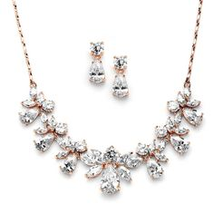 Multi Pear Shaped CZ Necklace Set with in Rose Gold with Delicate Chain - our favorite set - on trend, beautiful and brilliant without being to flashy
