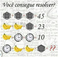 Clock + Banana + Banana*Shapes = ?,whatsappfun, whatsappriddles, whatsapppuzzles,whatsapplatest,findwords,Voce consegue resolver