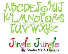 MCA - Jingle Jungle Uppercase Embroidery Font.