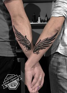 Tattoo Denis Veganov - tattoo's photo In the style Black and grey, Wings, Letter. - Tattoo Denis Veganov – tattoo's photo In the style Black and grey, Wings, Letteri - Mom Tattoos, Forearm Tattoos, Body Art Tattoos, Hand Tattoos, Sleeve Tattoos, Tattoos For Guys, Tattoos For Couples, Puzzle Tattoos, Arrow Tattoos