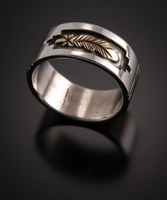 14K Gold and Sterling Silver Eagle Feather Wedding Rings (Priced for pair)