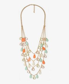 Faceted Teardrop Swag Necklace | FOREVER21 - $9.80