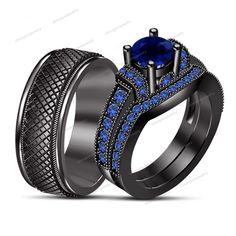 2.10ct Blue Sapphire 14k B/Gold GP Engagement Ring & Wedding Band Trio Set #silvergemsjewelry #SolitairewAccentsEngagementWeddingRing #WeddingEngagemnetAnniversaryBrithdayPartyGift