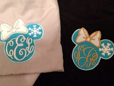 Winter or Frozen Themed, Women's Monogram Disney Applique Minnie Mouse Tank, Short or Long Sleeve Pocket Tee, T-Shirt on Etsy, $24.00