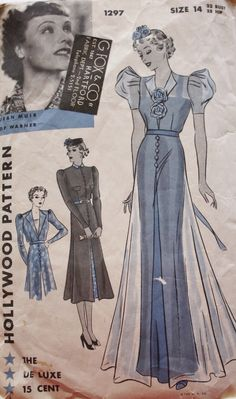 1930s Evening Dress Pattern Hollywood 1297 Jean Muir Art Deco Gown Vintage Sewing Pattern di BluetreeSewingStudio su Etsy https://www.etsy.com/it/listing/216148032/1930s-evening-dress-pattern-hollywood