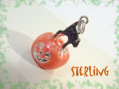 Happy Halloween - Jack O Lantern Pumpkin & Black Cat Enamel Sterling Silver Charm Pendant - Work Office Fashion Party Gift - FREE SHIPPING by FindMeTreasures on Etsy