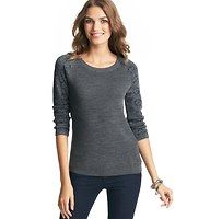 Foil Jacquard 3/4 Sleeve Sweater - Jacquard raglan sleeves – garnished with shimmery foil detail – lend sparkling personality to this quirky cute style. Scoop neck. 3/4 sleeves. Ribbed neckline, cuffs and hem.
