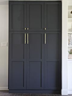 Built In Pantry with IKEA Sektion high kitchen cabinets and shaker doors from SemihandmadeKitchen Pantry Ideas That Will Improve Your Kitchen Renovation Ideas kitchen ikea cabinets paint colors for trying 45 Kitchen Remodel Ideas fo Kitchen Pantry Cabinets, Ikea Cabinets, Built In Cabinets, Kitchen Storage, Tall Cabinet Storage, Tall Pantry Cabinet, Storage Room, Garage Storage, Maple Cabinets