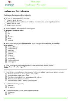 Ficha de trabalho                                    Língua Portuguesa – 7º ano – 2010/2011A classe dos determinantesSubcl...