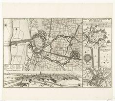 Anonymous | Plattegrond van Duinkerke, 1712, Anonymous, Pieter Husson, 1712 | Plattegrond van Duinkerke met alle versterkingen, volgens akkoord bezet door de Engelsen in juni 1712. Onderaan een gezicht op Duinkerke, rechts plattegronden van Sint-Winoksbergen, het fort Risbank en het fort Knock