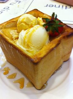 Honey brick toast with ice cream...kill me now