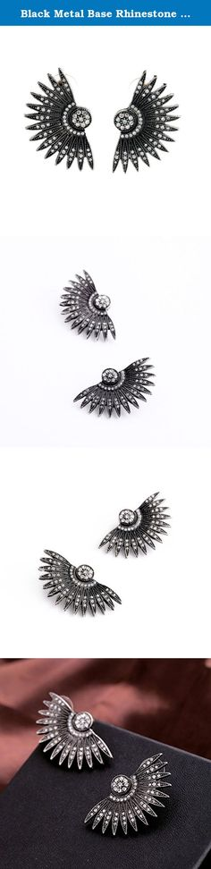 Black Metal Base Rhinestone Art Deco Fan Feather Chunky Stud Earrings. Habeats - stylish quality jewelry for young people Habeats provides a wide selection of fashion jewelry with both affordability and top quality. It carries latest women's jewelry, including studs, earrings, bracelets, bangles, necklaces, rings and sets, and men's jewelry, including bracelets and necklaces. Habeats focuses on sleek fair designs and best quality. All products come with a free habeats gift box or gift bag.