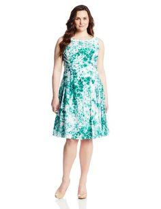 Adrianna Papell Women's Plus-Size Embellished Shirring Detail Dress, Ivory Multi, 22W