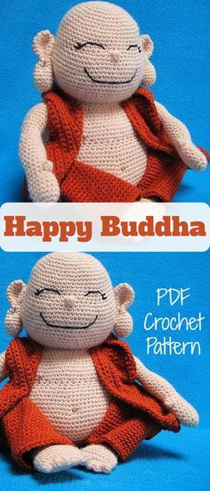 Amigurumi Happy Buddha. This little guy will cheer you up any time. Make your own little happy buddha with this crochet pattern #buddha #ad #amigurumi #pattern