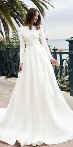79 Beautiful Simple Wedding Gowns That Will Leave You Speechless, off the shoulder wedding dress,deep plunging neckline wedding dress,long sleeves wedding dress Simple Wedding Dress With Sleeves, Simple Wedding Gowns, Long Wedding Dresses, Long Sleeve Wedding, Wedding Dress Sleeves, Bridal Dresses, Dress Wedding, Simple Dresses, Maternity Wedding