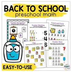 Back to School Math Activities Preschool and Kindergarten by Fluffy Tots Subtraction Activities, Math Games, Easel Activities, Preschool Activities, Learning Numbers Preschool, Learn To Count, Student Data, Math Numbers, Math Concepts