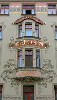 Art Nouveau, K K Hotel Central, Hybernská 110 00 Prague-Praha, Czech Republic Architecture Details, Architecture Art, Art Nouveau Arquitectura, Prague Czech Republic, Elderly Home, Beautiful Buildings, Belle Epoque, Bauhaus, New Art