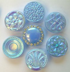 7 x 19mm Vintage Sky Blue Glass Buttons With Lustre & Rhinestones