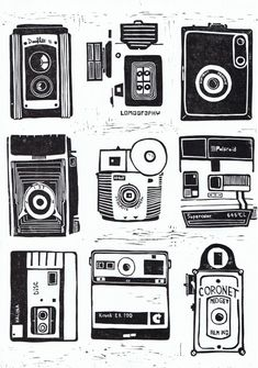 Beautiful lino cut print of 9 vintage cameras - Camera Stamp Printing, Screen Printing, Lino Art, Camera Drawing, Linoprint, Vintage Cameras, Tampons, Linocut Prints, Letterpress
