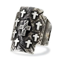 """Many Crosses Ring  Crow's Nest Exclusive. A powerful image. Cross upon cross, roughly hewn in oxidized sterling silver. 1"""" w. Made in the USA. $120.00"""