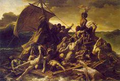 Un maravilloso cuadro de Delacroix, épico nos lleva al cosmos del comportamiento humano en una balsa en mitad del océano.