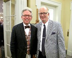 Professors of design at Washington University in St. Louis, Jeff Pike and Douglas Dowd, representing the school's Modern Graphic History Library