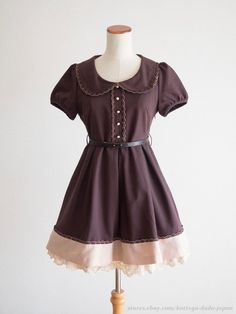 PRIME PATTERN Elegant Chocolate Round Collar OP Dress Hime Lolita Kawaii Japan #PRIMEPATTERN #PeplumTunic #Shibuya109Lolitafashion