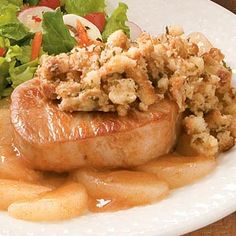 Pork Chops with Apples and Stuffing Recipe....I make this in my crockpot. The recipe is the same, except after browning the chops, I spray the crockpot with non-stick spray, put the chops on the bottom, then I add thin slices of onion, the apple pie filling and the stuffing mix. It's a great dish for the Fall and Winter months.