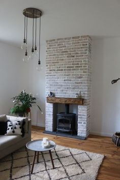Wood Stove Surround, Wood Stove Hearth, Wood Burner Fireplace, Home Fireplace, Brick Fireplace, Fireplace Surrounds, Fireplace Design, Log Burner Living Room, Home Living Room