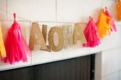 Gypsy Floral & Events: Vintage Hawaiian Party | Aloha Banner | Neon Tassel Banner | www.gypsyfloral.com
