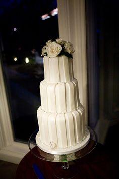 White striped wedding cake