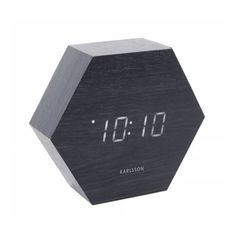Karlsson Hexagon LED Alarm Clock with Date & Temperature - Black Wood