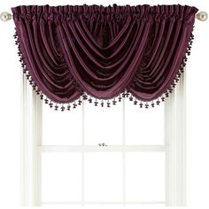 Royal Velvet Hilton Rod-Pocket Waterfall Valance (52 AUD) ❤ liked on Polyvore featuring home, home decor, window treatments, curtains, royal velvet, royal velvet curtains, rod pocket curtains, rod pocket draperies and tassel curtains