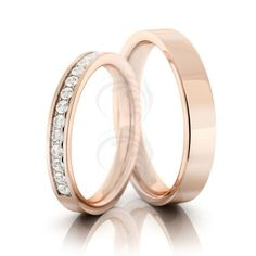 10k Rose Gold Polish Flat Ladies And Mens Wedding Bands 0.15 Carat Round Diamond 3mm, 4mm 02126