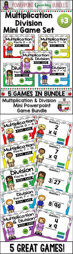 Engage students with this fun, interactive multiplication and division games. This bundle includes 5 mini powerpoint games, each with 10 questions. Students practice multiplying and dividing numbers. There's are grand total of 50 questions.  Simply click on each question to go to it. The question disappears after you've clicked on it so you know you've answered it. Great for a guided math center or rainy day activity. Great for individual practice on the iPad! Extra licenses are $1.50.