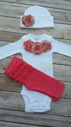 Baby Girl Take Home Outfit Newborn Outfit Going Home Outfit Coming Home Outfit Photo Prop Outfit Hospital Outfit by BiancaBellaBoutique on Etsy