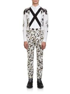 """Givenchy X Front Woven Sportshirt save -55% today \""""X\"""" marks the front of the floral print sportshirt neatly crafted and tailored in fine Italian cotton.   Buttoned-down point collar Button front Long sleeves Buttoned barrel cuffs Shirttail hem Cotton Dry clean Made in Italy"""