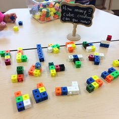 An interest in making figures out of linking cubes led to today's math challenge: 'How Maths Eyfs, Numeracy Activities, Eyfs Classroom, Math Games, Teaching Math, Preschool Activities, Primary Teaching, Classroom Ideas, Kindergarten Centers
