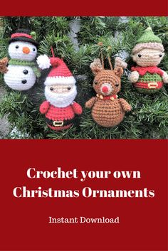 Make these delightful Christmas Ornaments! It's an instant download so that makes it easier too! #christmas #christmasornaments #ad #crochet #crochetornament #amigurumi